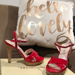 Patent Red  cork heeled sandals
